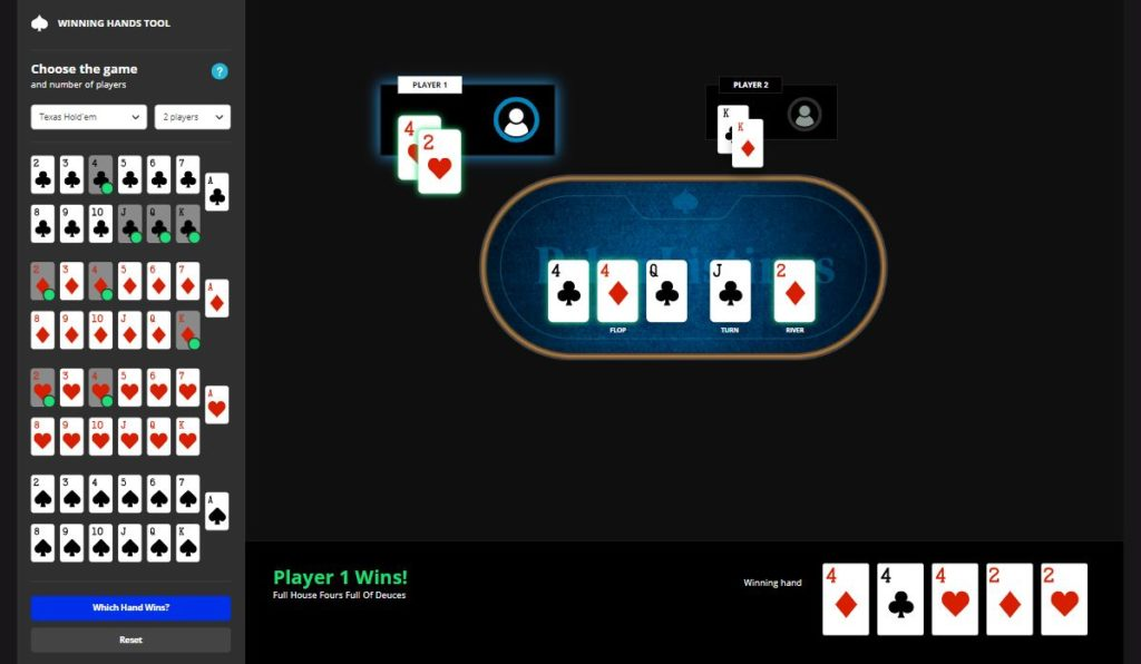 Which Hand Wins poker tool